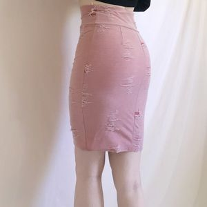 Myth Skirts - Pastel Pink Distressed Skirt